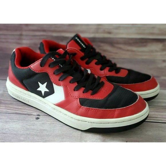 Converse Mens Rival Ox Black Red Sneakers Size 8